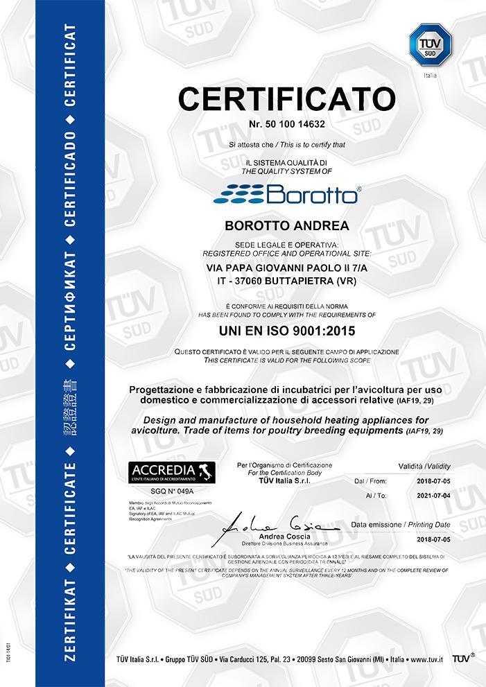Certificato Tuv Incubatrici Borotto